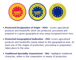 Immagini dei tagliandi di controllo delle DOP, IGP e IGT